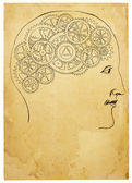 Old Style Head and Gears Illustration — Stok fotoğraf