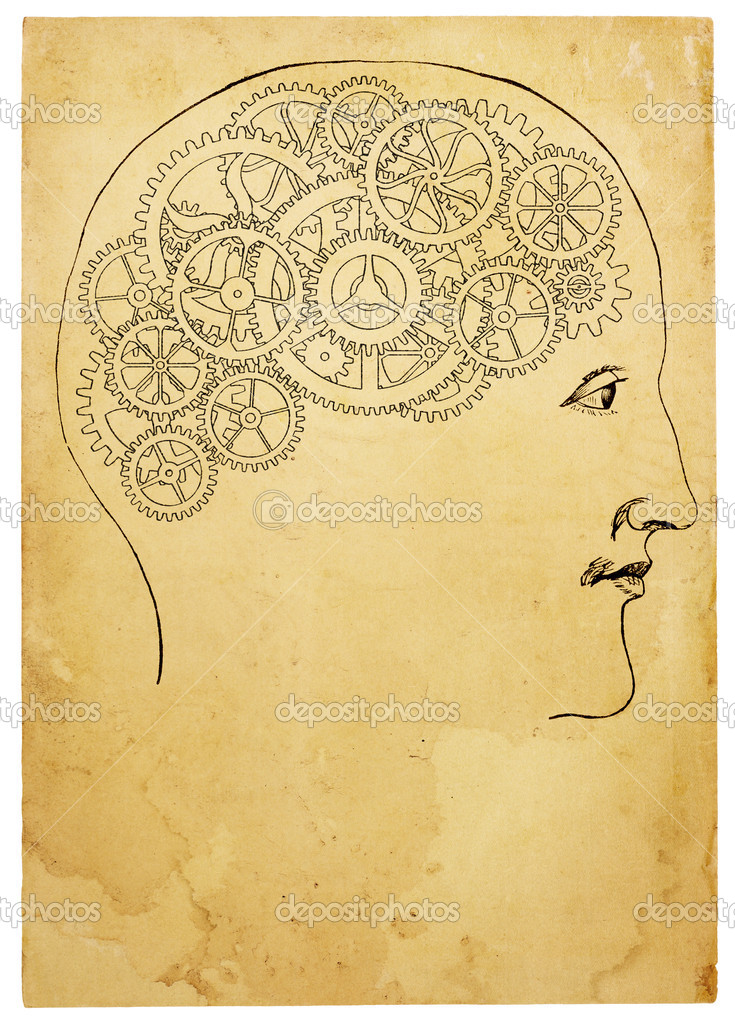 An aged line art illustration of head and gears on stained paper. Isolated on white, with clipping path. — Stock Photo #9118281