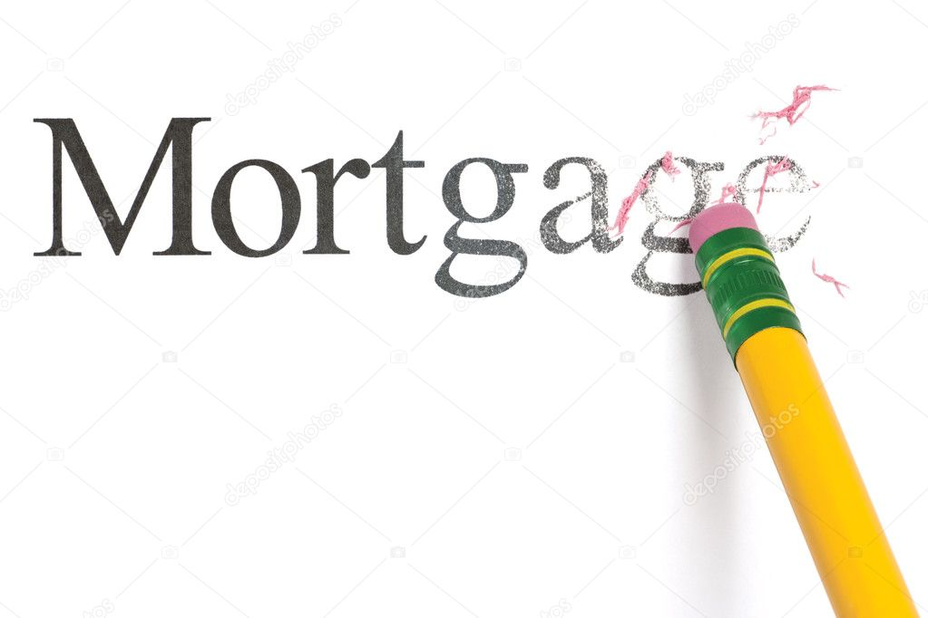 Close up of a yellow pencil erasing the word, 'Mortgage.' Isolated on white.  Stock Photo #9555867
