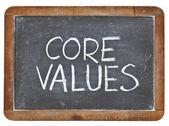 Kernwaarden op blackboard — Stockfoto