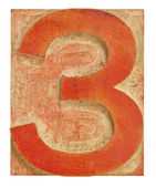 Number three printing block — Stock Photo