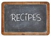 Palabra de recetas en pizarra — Foto de Stock