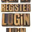 Login, register, join, sign up — Stock Photo