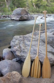 Canoe paddles and river — Stock Photo