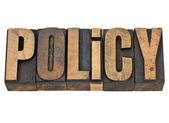 Słowo polityki w typ typografia — Zdjęcie stockowe