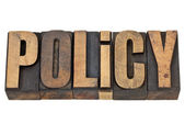 Policy word in letterpress type — Stock Photo