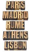 Paris, Madrid, Rome, Athens and Lisbon — Stock Photo