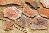Ancient Anasazi pottery shards — Stock Photo