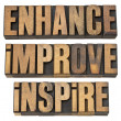 Enhance, improve, inspire — Stockfoto