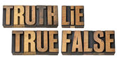 Truth, lie, true and false in wood type — Stock Photo