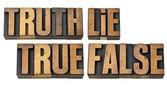 Verdade, mentira, true e false em um tipo de madeira — Foto Stock