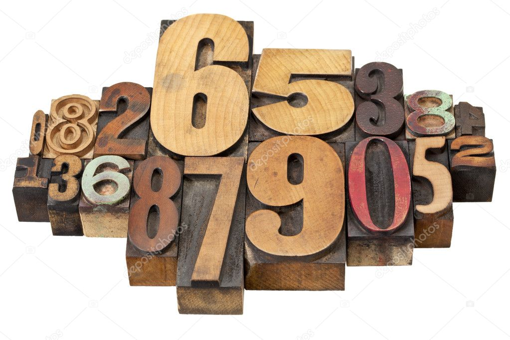 Number abstract - vintage  letterpress wood type stained by color inks, a mix of fonts — Stock Photo #10349166