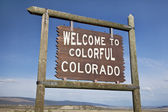 Welcome to Colorado roadside sign — 图库照片