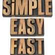 Stock Photo: Simple, easy and fast in wood type