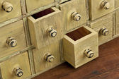Vintage apothecary drawer cabintet — Stock Photo