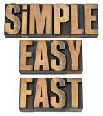 Simple, easy and fast in wood type — Stock Photo