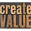 Create value text in wood type - Stock Photo