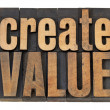 Create value text in wood type — Stock Photo #10596337