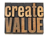 Create value text in wood type — Stock Photo