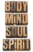 Body, mind, soull and spirit in wood type — Stock Photo