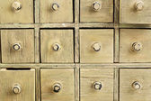 Primitive apothecary drawer cabinet — Stock Photo