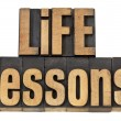 Stock Photo: Life lessons - text in wood type
