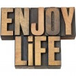 Enjoy life in wood type — Stock Photo