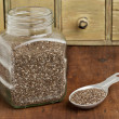 Stock Photo: Jar and tablespoon of chiseeds