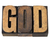 God - word in wood type — Stock Photo