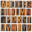 Vintage wooden alphabet set - Stock Photo