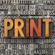Stock Photo: Print word in letterpress type
