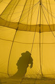 Yellow hot air balloon — Stock Photo