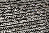 Vintage metal letters and numbers — Stock Photo