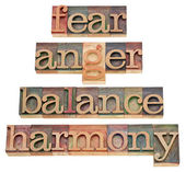 Fear, anger, balance, harmony — Foto Stock
