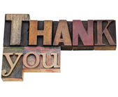 Thank you in letterpress type — Stock Photo