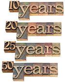 Anniversary - 10, 20 ,25, 50 years — Stock Photo