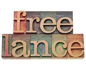 Palavra freelance em tipo de tipografia — Foto Stock