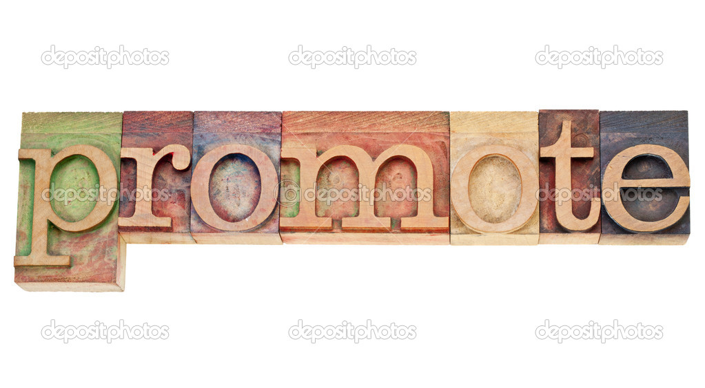 Promote - isolated word in vintage wood letterpress printing blocks stained by colorful inks — Stock Photo #8692631