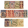 Cost, effort, risk - business concept - Stock fotografie