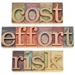 Stock Photo: Cost, effort, risk - business concept