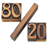 Pareto principle in letterpress type — Stock Photo
