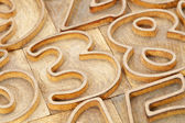 Number abstract in letterpress type — Stock Photo