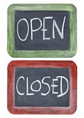 Open and closed on blackboard — 图库照片