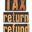 Tax, return and refund — Stock Photo