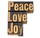 Peace, love and joy in letterpress — Stock Photo