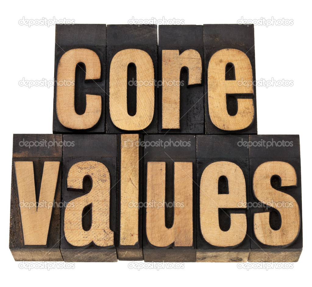Core values - ethics concept - isolated text in vintage letterpress wood type — Stock Photo #9018742