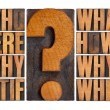 Questions in letterpress wood type — Stok fotoğraf