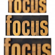 Focus concept in wood type — Foto Stock
