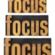 Focus concept in wood type — Stockfoto