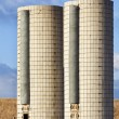 Stock Photo: Twin farm silos